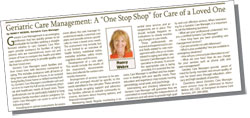 "Article - Geriatric Care Management: A ""One Stop Shop"" for Care of a Loved One"